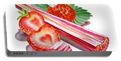 Portable Battery Charger featuring the painting Rhubarb Strawberry by Irina Sztukowski