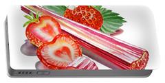 Rhubarb Strawberry Portable Battery Charger by Irina Sztukowski