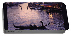 Portable Battery Charger featuring the photograph Rialto Bridge Sunset View by Tom Wurl