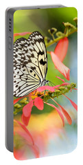 Rice Paper Butterfly In The Garden Portable Battery Charger