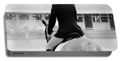 Rider In Black And White Portable Battery Charger