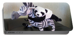 Portable Battery Charger featuring the photograph Riding A Zebra.traveling Pandas Series by Ausra Huntington nee Paulauskaite