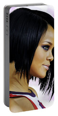Portable Battery Charger featuring the painting Rihanna Artwork by Sheraz A