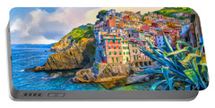 Riomaggiore Morning - Cinque Terre Portable Battery Charger by Dominic Piperata