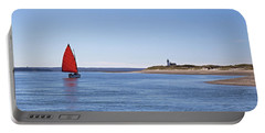 Ripple Catboat With Red Sail And Lighthouse Portable Battery Charger