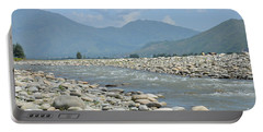 Riverbank Water Rocks Mountains And A Horseman Swat Valley Pakistan Portable Battery Charger