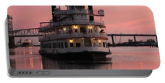 Riverboat At Sunset Portable Battery Charger