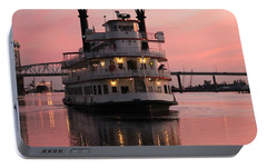 Portable Battery Charger featuring the photograph Riverboat At Sunset by Cynthia Guinn