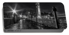 Riverfront Park Clocktower Seahawks Black And White Portable Battery Charger