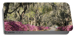 Road With Azaleas And Live Oaks Portable Battery Charger