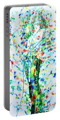 Robert Plant Singing - Watercolor Portrait Portable Battery Charger