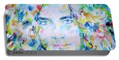 Robert Plant - Watercolor Portrait Portable Battery Charger by Fabrizio Cassetta