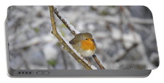 Robin At Winter Portable Battery Charger