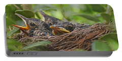 Robins In The Nest Portable Battery Charger by Debbie Portwood