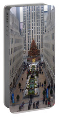 Rockefeller Plaza At Christmas Portable Battery Charger by Judith Morris
