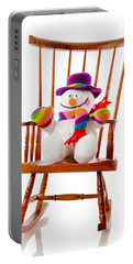 Portable Battery Charger featuring the photograph Happy Snowman Sitting In A Rocking Chair  by Vizual Studio