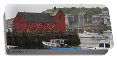Rockport Inner Harbor With Lobster Fleet And Motif No.1 Portable Battery Charger