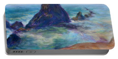 Rocks Heading North - Scenic Landscape Seascape Painting Portable Battery Charger
