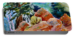 Rocks Near Red Feather Portable Battery Charger by Beverley Harper Tinsley