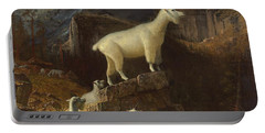 Rocky Mountain Goats Portable Battery Charger by Albert Bierstadt
