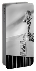 Rolls-royce Hood Ornament -782bw Portable Battery Charger
