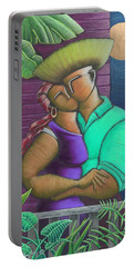 Portable Battery Charger featuring the painting Romance Jibaro by Oscar Ortiz