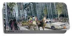New York 5th Avenue Ride - Fine Art Painting Portable Battery Charger