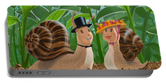 Portable Battery Charger featuring the painting Romantic Snails On A Date by Martin Davey