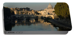 Rome - Iconic View Of Saint Peter's Basilica Reflecting In Tiber River Portable Battery Charger