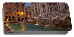 Rome's Fabulous Fountains - Trevi Fountain At Dawn Portable Battery Charger by Georgia Mizuleva
