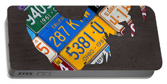 Rooster Recycled License Plate Art On Gray Wood Portable Battery Charger by Design Turnpike