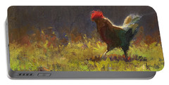 Rooster Strut - Impressionistic Chicken Landscape - Abstract Farm Art - Chicken Art - Farm Decor Portable Battery Charger