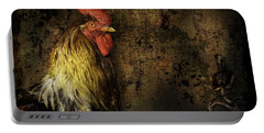 Portable Battery Charger featuring the mixed media Rooster With Brush Calligraphy Loyalty by Peter v Quenter