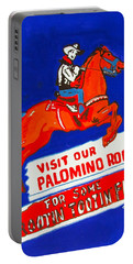 Portable Battery Charger featuring the painting Rootin Tootin Fun by Beth Saffer