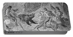 Roping A Grizzly, Illustration From Harpers Weekly, 1874, From The Pageant Of America, Vol.3 Portable Battery Charger