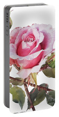Watercolor Of Pink Rose Grace Portable Battery Charger