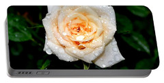 Portable Battery Charger featuring the photograph Rose In The Rain by Deena Stoddard
