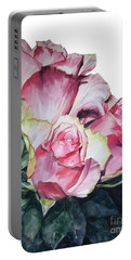 Watercolor Of A Bouquet Of Pink Roses I Call Rose Michelangelo Portable Battery Charger