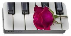 Rose Over Piano Keys Portable Battery Charger