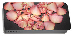 Rose Petals Heart Portable Battery Charger by Eva Csilla Horvath