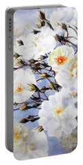 Rose Tchaikowsky A Stem Of White Roses And Buds Portable Battery Charger by Greta Corens
