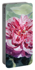 Watercolor Of A Pink Rose In Full Bloom Dedicated To Van Gogh Portable Battery Charger