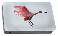 Roseate Spoonbill In Flight Portable Battery Charger by Carol Groenen