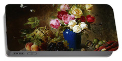 Roses In A Vase Peaches Nuts And A Melon On A Marbled Ledge Portable Battery Charger