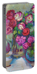 Roses In Two Vases Portable Battery Charger