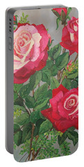 Portable Battery Charger featuring the painting Roses N' Rain by Sharon Duguay