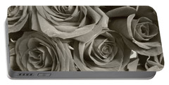 Portable Battery Charger featuring the photograph Roses On Your Wall Sepia by Joseph Baril