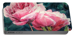 Watercolor Of Two Luscious Pink Roses Portable Battery Charger