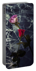 Roses With Coweb Portable Battery Charger by Joana Kruse