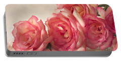 Rosy Elegance Digital Watercolor Portable Battery Charger by Sandra Foster